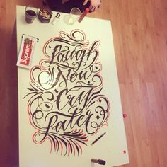 Laugh now, cry later for my bro @embe_piercing #wlk #calligraphy #typography #letters #lettering #glass #laughnow #krakow #katowice #klaigrafia #script #scriptkillas #krk #embe #rocknink #tattoo  #tatuaz  #zyciefaceta