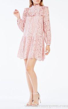 2016 BCBG Leona Lace Blocked Ruffled Princess Dress Short