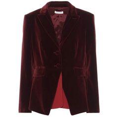 Altuzarra Parthia Velvet Jacket (£1,360) ❤ liked on Polyvore featuring outerwear, jackets, red, velvet jacket, red velvet jacket, red jacket and altuzarra