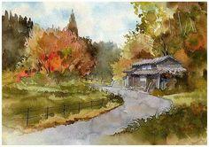 Mountain pass in autumn,  Saga Japan , by Kiyoharu Narazaki