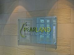 Etched Glass Lobby Sign with Acrylic and Thin Leaf Brushed Aluminum Letters & Logo - Pearland Economic Development Corp. Wall Plaques, Wall Signs, Pearland Tx, Office Pictures, Glass Printing, Creative Background, Glass Etching, Etched Glass, Workspace Design