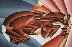 futurist paintes | Depero, Fortunato (1892-1960) - 1932 Neighing at Speed (Musei Civici ...