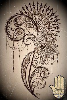 mandala and lace thigh tattoo idea design with lotus flower. By Dzeraldas Kudrevicius Atlantic Coast Tattoo Cornwall
