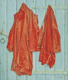 """Jopie Huisman ~ """"Roodbaaien hemden op blauwe deur"""" (1984) oil on canvas *Red shirts on blue door* via Dutch Art Store"""