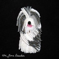 OLD ENGLISH SHEEPDOG beaded dog pin / pendant (Made to Order) ~ this is so cool...