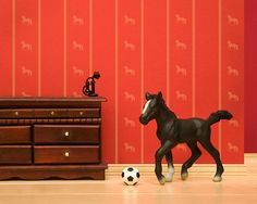 soccer playing horse print bright red diorama  by WildLifePrints, $18.00
