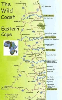 Map of the Transkei Wild Coast for tours with Cederberg 4x4