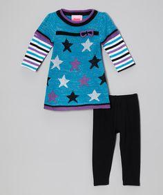 Look at this Young Hearts Aqua Stars Layered Tunic