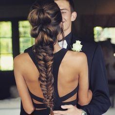 beautiful prom inspo, pull through fishtail braid on blairehouston via fave4hair