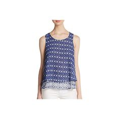 Saks Fifth Avenue BLUE Printed Double Layered Tank Top ($30) ❤ liked on Polyvore featuring tops, cobalt multi, drape top, double layer tank, drapey tank tops, blue tank top and scoop neck tank top