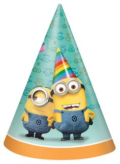 Despicable Me 2 - Cone Hats - Includes: (8) cardboard hats and (8) elastic chin straps. Ages 3+. Adult assembly required.