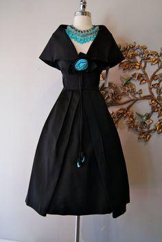 50s Dress // 60s Dress // Vintage 50s 60s Black by xtabayvintage, $248.00