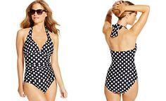 Lauren Ralph Lauren Ruched Polka-Dot-Print Halter One-Piece Swimsuit