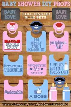 Baby Shower Photo Booth Props Printable Large 11 page PDF DIY FUNNY Baby girl party props print at home baby shower centerpieces