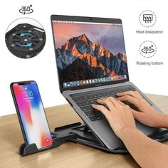Buy Height Adjustment Laptop Folding Stand For Macbook Lenovo 360 Degree Rotating Bottom Notebook Cooling Pad Bracket Phone Holder Laptop Tray, Laptop Stand, Phone Stand, Laptop Table, Cable Cover, 17 Inch Laptop, Macbook Air Pro, Computer Repair, Manualidades