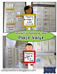 Place value interactive notebook ideas.  Expanded form, standard form, word form, base ten blocks, comparing numbers and more!