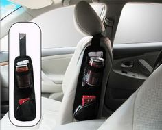 Seat side storage pocket. You can get this one in a store. It can be used to keep your items like cigarettes, pencils, or some drinks, etc. well organized and your car tidy, plus making full use of space. http://hative.com/storage-organization-ideas-for-your-car/