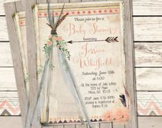 Boho Chic Baby shower invitation Tribal by OlicePartyPrintables
