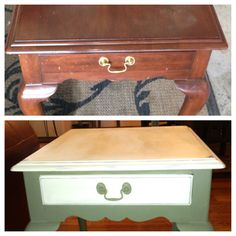 turn your traditional style end table to country shabby with chalk paint