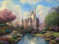 Thomas Kinkade A New Day at The Cinderella Castle print for sale. Shop for Thomas Kinkade A New Day at The Cinderella Castle painting and frame at discount price, ships in 24 hours. Cheap price prints end soon. Fantasy Castle, 3d Fantasy, Fairytale Castle, Cinderella Castle, Princess Castle, Cinderella Princess, Fantasy Princess, Enchanted Castle, Cinderella Theme