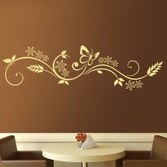 loral wall sticker composed of spikes, flowers and butterflies. An excellent spring composition that has become one of our tòp sales. Ideal for all types of spaces. Combine the color of the wall sticker with the color of your furniture or complement. Wall Decor Stickers, Butterfly Wall Stickers, Mural Floral, Inspiration Wand, Wall Drawing, Diy Wall Art, Wall Sculptures, Wall Colors, Wall Design
