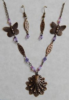 Beautiful 18 brass filigree necklace and matching by Ziplily