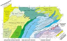 MAP: Physical Landform Regions (Provinces) of Pennsylvania (source: U. Pennsylvania History, Keystone State, Social Studies Activities, Interesting Information, Prehistory, School Projects, Geology, Cross Stitching, Geography