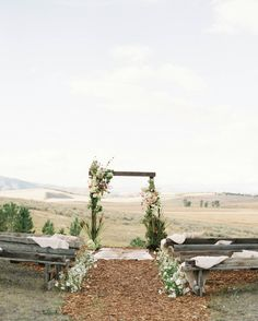 Rocky Mountain Bride V2 Montana // Heirloom Romance via Rocky Mountain Bride // natural, organic wedding ceremony // blush, cream, and neutral ceremony // @jeremiahrachel @resortatpawsup