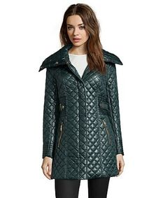 Via Spiga forest green diamond quilted a-line jacket