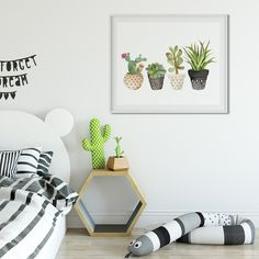 Succulent Cactus Watercolor Art Print #succulent #cactus #boho #tribal #art #print #canvas #nurseryart #nurserydecor #nursery