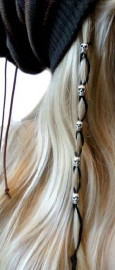 Black Leather Silver Skull Beads Hair Tie Hair Wrap Suede Leather