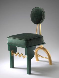 "Green Chair 2008 37"" x 18"" x 25"" wood, 23K gold-plated brass and copper, aluminum, velvet upholstery. Gary Knox Bennett"