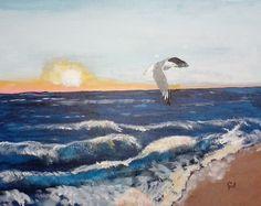"""Lonely Gull"" 20 x 16 acrylics on canvas panel.  Chosen by Jeff Jones."