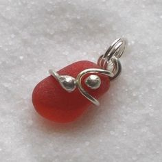 Natural Sea Glass Sterling Rare Red Charm Petite Pendant (008)