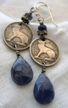 Vintage 1964 Irish Hare Coin Dangle Earrings by CobwebPalace
