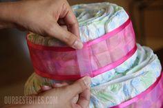 How to make a diaper cake centerpiece