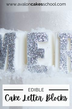 These DIY edible cake letters will bring your cake designs to the next level. Made out of candy melts and brushed edible glitter, these edible cake letters are a great new cake decorating idea to add to your repertoire. Check out our free cake decorating tutorial and use these new cake decorating skills to make beautiful edible letters for your next birthday cake, wedding cake, or all white Christmas cake.