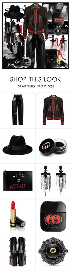 """""""Black leather"""" by tiraboschi-b ❤ liked on Polyvore featuring Philosophy di Lorenzo Serafini and Gucci"""
