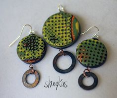 Polymer Clay Pendant/Earring set  Fall Colors  WEARABLE by shankas, $33.00