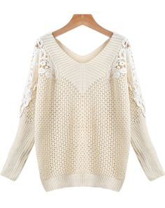 Apricot V Neck Hollow Knit Sweater - Sheinside.com