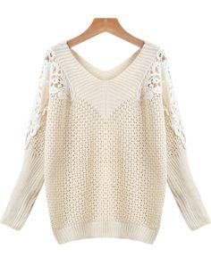 Apricot V Neck Hollow Knit Sweater - Sheinside.com