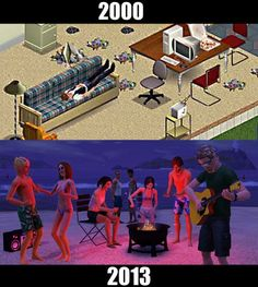 Popular Video Games Then and Now. I've been playing since the original.but I actually haven't played Sims 3 yet. I've been pretty content with Sims 2 and all my extension packs. Classic Video Games, Retro Video Games, Nostalgia, Grand Theft Auto, Sims Memes, Sims Humor, Funny Sims, Play Sims, Retro Videos