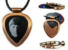 John Lennon & Red Gold IPG PICKBAY guitar pick holder pendant w leather necklace #music