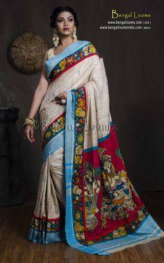 Hand Painted Patch Work Kalamkari Gicha Saree in Beige and Blue Kalamkari Saree, Product Page, Saree Collection, Indian Sarees, Bengal, Saree Blouse, Casual Wear, Desi, Fabrics