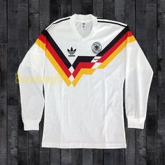 West Germany 1990 World Cup Long Sleeve Football Shirt Soccer Retro Football Shirts, Color Calibration, World Cup, Book Worms, Germany, Soccer, Trending Outfits, Long Sleeve, Sleeves