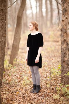 black dress, gray tights, black boots (via anna allen clothing)