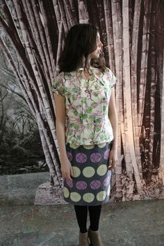 Amy Butler's Alchemy Studio Fabrics with The Sencha top from Colette Patterns and The Deco Vibe Skinny Skirt from Hot Patterns