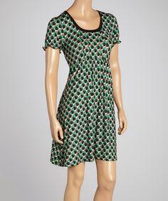 Loving this Green & Black Geo Empire-Waist Dress on #zulily! #zulilyfinds
