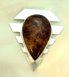 Large Sterling Silver 950 Amber Pendant Necklace   Bitz of Glitz