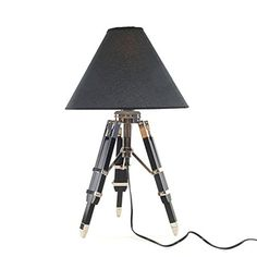 The architectural tripod legs and handsome black fabric conical shade make this Old Modern Handicrafts Table Lamp a dapper way to light your desktop. This table lamp requires one bulb (not included). Tripod Table Lamp, Desk Lamp, Glass Table, A Table, Nautical Table, Table Lamps For Bedroom, Retro Lighting, Led Wall Sconce, Led Night Light